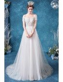 Strapless Lace Tulle Aline Gorgeous Wedding Dress With Train