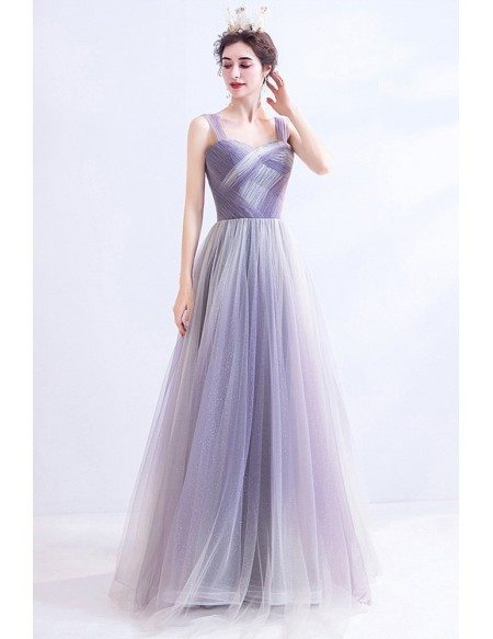 Special Pleated Purple Tulle Aline Prom Dress With Straps
