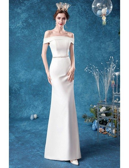 Elegant Mermaid Satin Off Shoulder Beaded Waist Wedding Dress