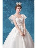 Princess Ballgown Tulle Wedding Dress Lace Top With Puffy Sleeves