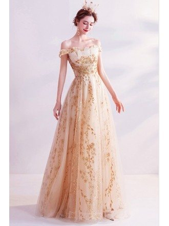 Bling Sequins Aline Tulle Champagne Wedding Party Dress Formal
