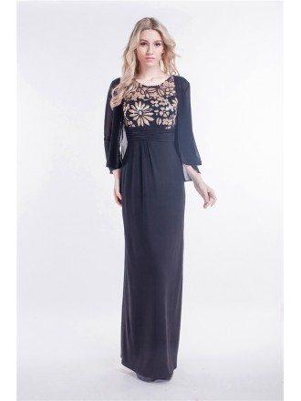 Elegant Black A-Line Chiffon Embroidered Dress