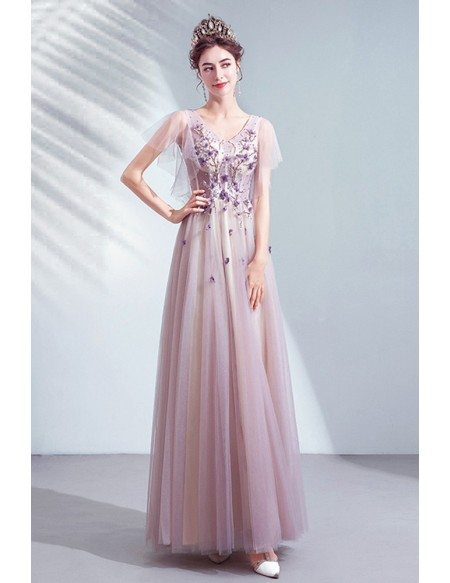 Pretty Dusty Purple Aline Long Tulle Prom Dress With Puffy Sleeves