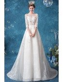 Modest Lace Sheer Neckline Winter Wedding Dress With Lace Sleeves