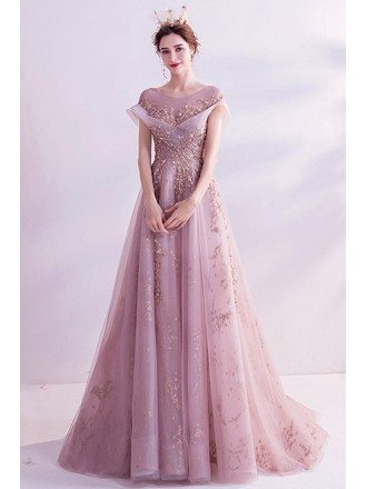 Pink With Bling Gold Sequins Gorgeous Prom Dress With Illusion Neckline