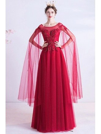 Flowy Aline Burgundy Long Formal Prom Dress With Fairy Cape Sleeves