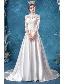 Satin Lace Sleeve Modest Wedding Dress With 3/4 Sleeves