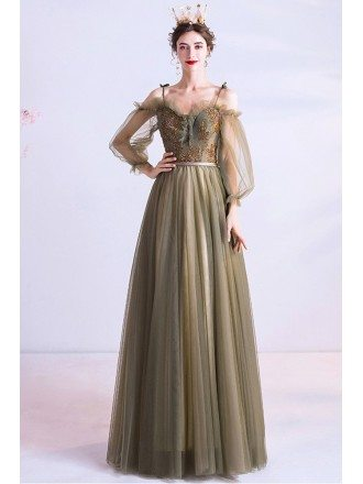 Olive Green Aline Long Tulle Elegant Prom Dress With Lantern Sleeves