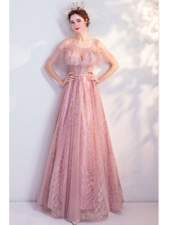Pink Tulle Bling Sequins Gorgeous Prom Dress For Teens