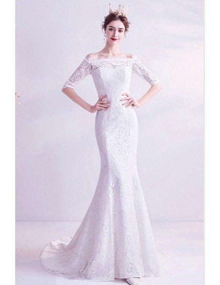 Classic Mermaid Lace Wedding Dress With Off Shoulder Sleeves