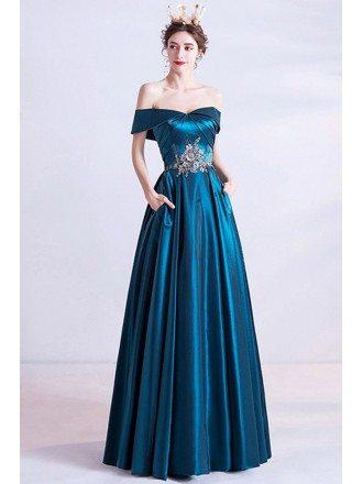 Light Luxe Slim Long Aline Evening Prom Dress Off Shoulder