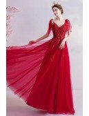 Red Tulle Aline Long Prom Dress With Straps