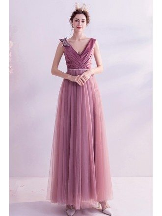 Elegant Rose Pink Vneck Aline Long Prom Dress With Butterflies