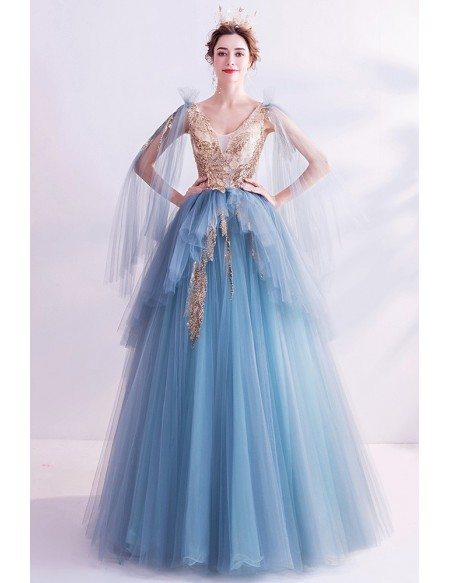 Unique Ballgown Tulle Puffy Big Prom Dress Vneck With Sequins