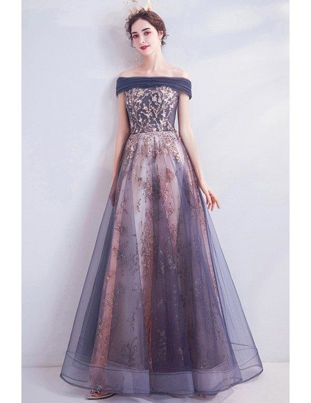 Off Shoulder Aline Tulle Long Prom Dress With Bling Sequins