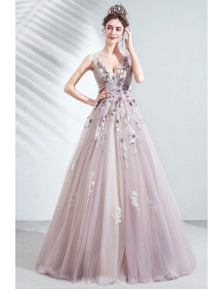 Fairy Light Purple Tulle Vneck Prom Dress With Beaded Appliques Flower