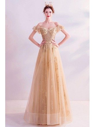 Champagne Gold Tulle Aline Party Prom Dress With Bling