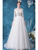 Romantic Lace Tulle Sheer Top Wedding Dress With 3/4 Sleeves