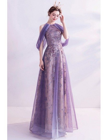 Purple Sparkly Purple Aline Long Prom Dress With Cold Shoulder