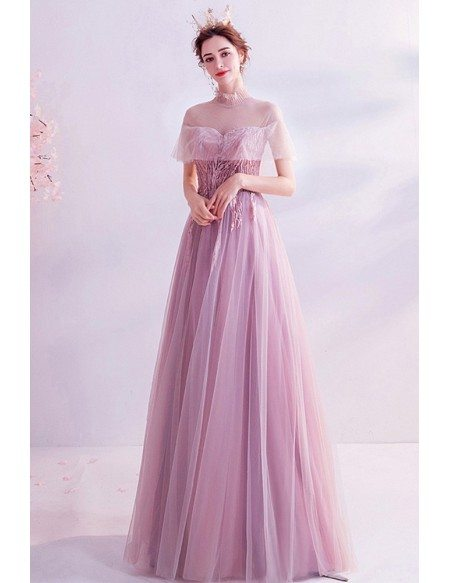 Elegant Pink Sheer Top High Collar Aline Long Tulle Prom Dress With Appliques