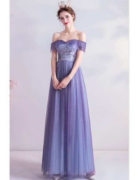 Purple Bling Tulle Aline Prom Dress Strapless With Sequins