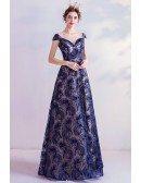 Elegant Navy Blue Sequins Aline Long Prom Dress For Formal