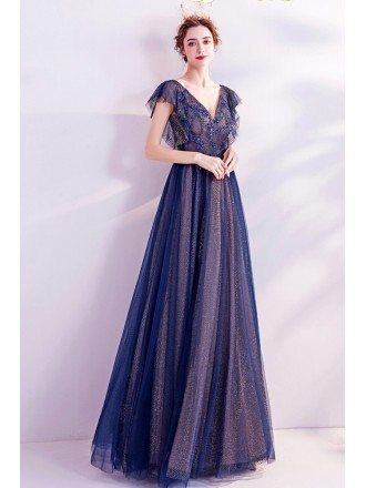 Navy Blue Vneck Elegant Long Prom Dress With Cap Sleeves