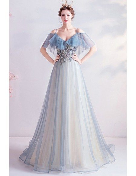 Gorgeous Light Blue Flowy Tulle Prom Dress With Beaded Flowers