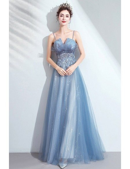 Simple Blue Bling Tulle Prom Dress With Appliques Spaghetti Straps