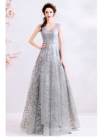 Shinning Silver Sequins Modest Vneck Prom Dress With Laceup