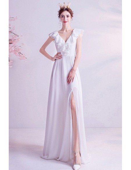 Simple Vneck Aline Beach Chiffon Wedding Dress With Side Slit