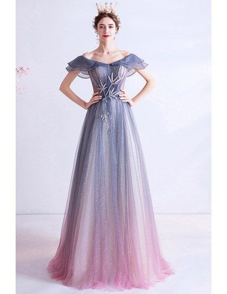 Mistery Ombre Blue Purple Bling Sequins Prom Dress With Ruffled Cap Sleeves