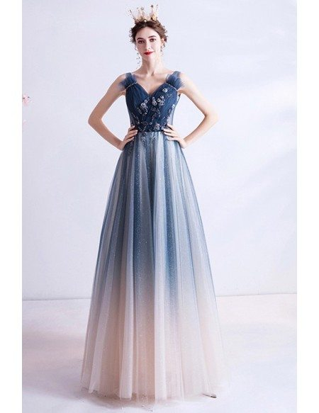 Special Ombre Blue Tulle Vneck Long Prom Dress With Beadings