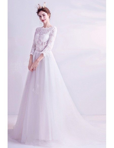 Aline Long Tulle Boho Lace Wedding Dress With 3/4 Sleeves