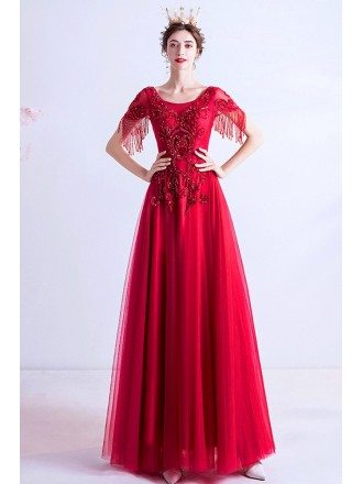 Red Aline Long Tulle Round Neck Prom Dress With Beaded Cap Sleeves