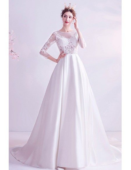 Aline Lace 3/4 Sleeves Satin Wedding Dress With Train