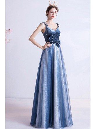Special Blue Tulle Aline Evening Prom Dress With Straps