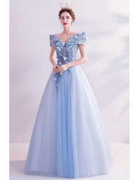 Blue Tulle Ballgown Super Cute Flowers Long Prom Dress With Cap Sleeves