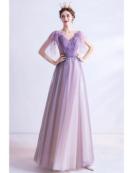 Vneck Ombre Purple Aline Tulle Prom Dress For Teens