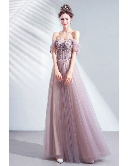 Gorgeous Dusty Purple Off Shoulder Flowy Tulle Prom Dress For Teens