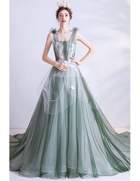 Unique Dusty Green Big Ballgown Formal Prom Dress With Tulle Decoration