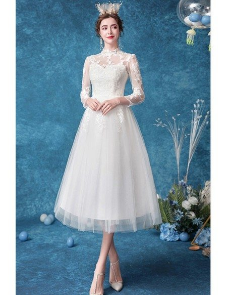 Retro Tea Length Lace Wedding Reception Dress With Tulle Sleeves