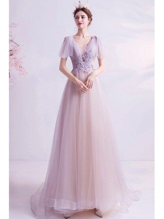 Pretty Light Purple Flowy Tulle Aline Prom Dress With Appliques