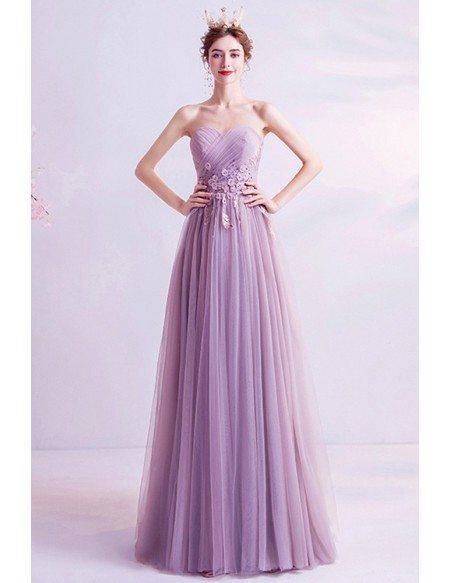 Slim Aline Flowy Tulle Prom Dress Strapless With Pleated Top