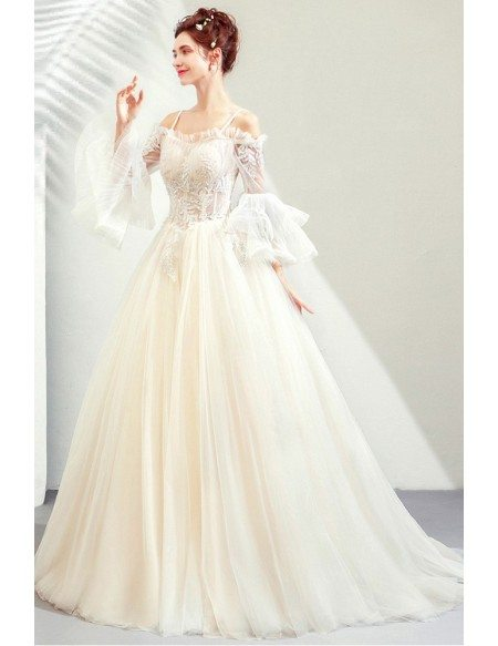 Light Champagne Ballgown Wedding Princess Prom Dress With Bell Sleeves