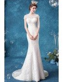Romantic Lace Sheer Neck Cap Sleeved Fitted Wedding Dress With Train