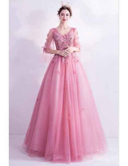 Fairytale Pink Petals Ballgown Prom Dress Flowers With Bubble Sleeves