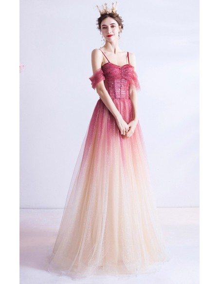 Tulle Ombre Red With Champagne Aline Long Prom Dress With Straps