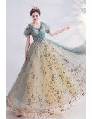 Bling Tulle Vneck Princess Prom Dress With Bubble Sleeves