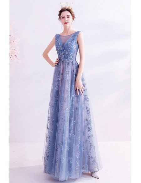 Blue With Sequined Flowers Sleeveless Long Prom Dress Aline With Bling